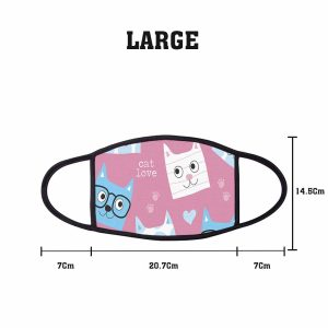 Animal Cartoon Cat Love Non Medical 3 Ply Large Face Mask Size