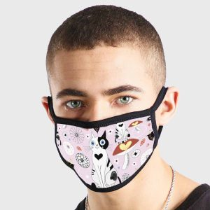 Cartoon Cat Love Pink Black White Non Medical 3 Ply Face Mask