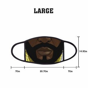 Comic Bearded Non Medical 3 Ply Large Face Mask Size