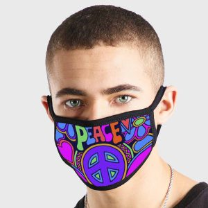 Funny Peace Hippy Non Medical 3 Ply Face Mask