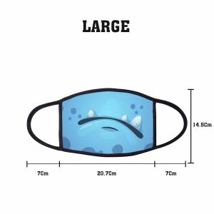 Kawaii Blue Frown Comic Non Medical 3 Ply Large Face Mask Size