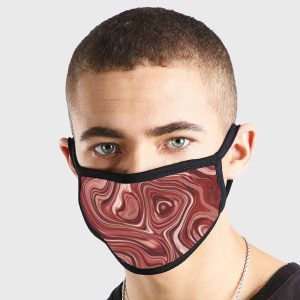 Oil Pattern Red White Paint Non Medical 3 Ply Face Mask