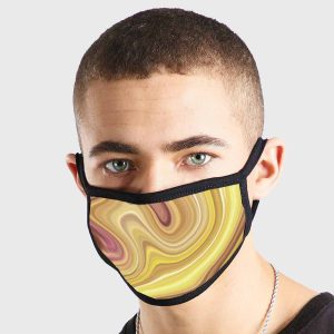 Oil Pattern Yellow Red Non Medical 3 Ply Face Mask
