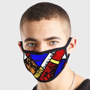 Pattern Abstract Art Blue White Red Yellow Rustic Non Medical 3 Ply Face Mask