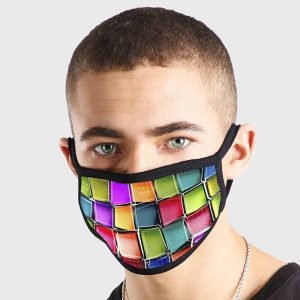 Pattern Abstract Art Colour Blocks Non Medical 3 Ply Face Mask