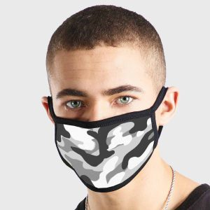 Pattern Camoflage Black White Non Medical 3 Ply Face Mask